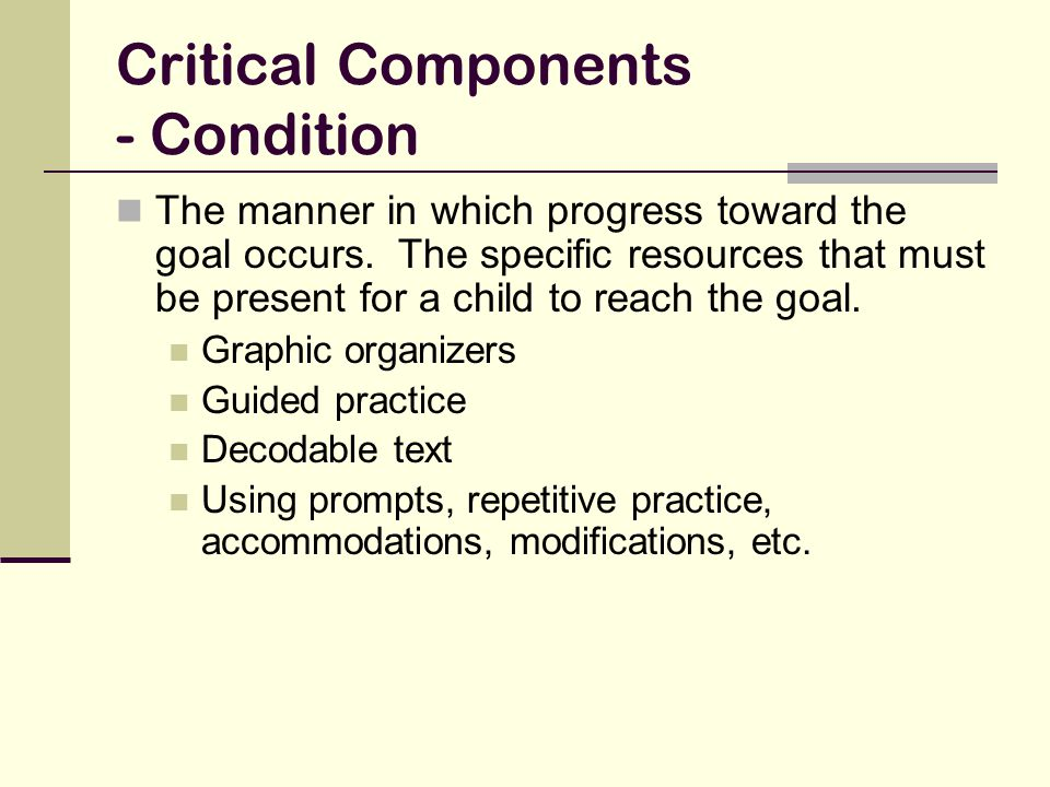 Critical Components - Condition