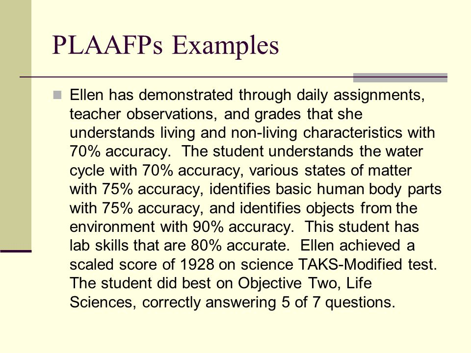 PLAAFPs Examples