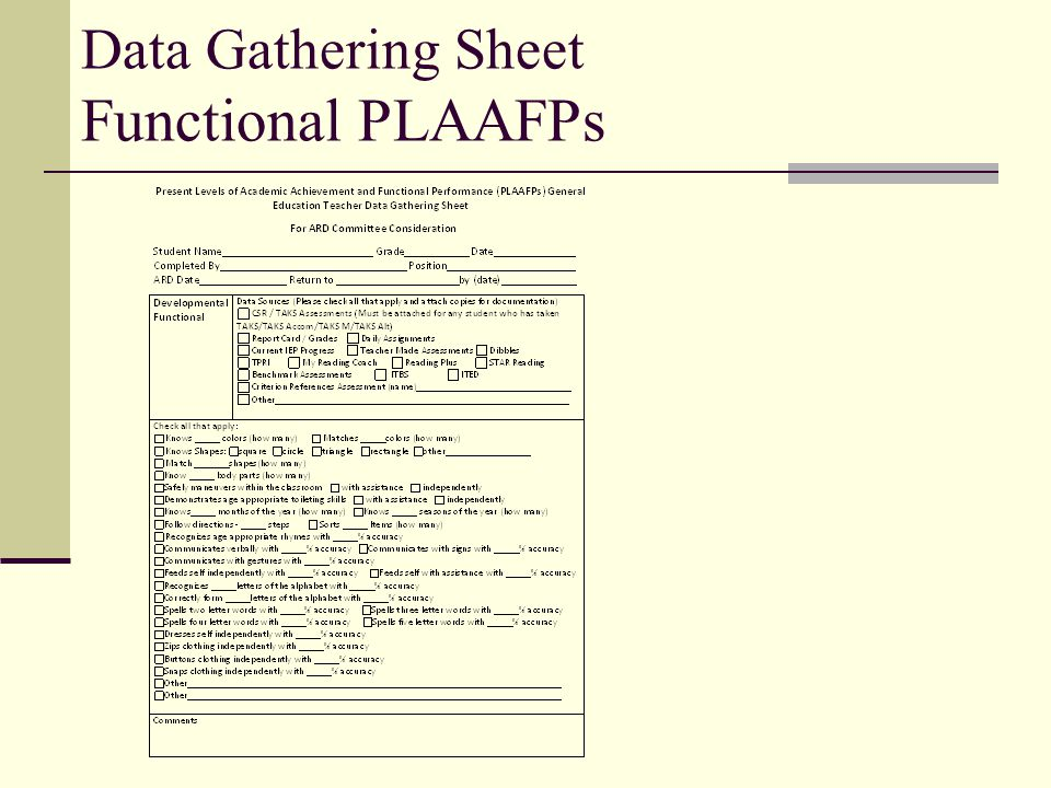 Data Gathering Sheet Functional PLAAFPs