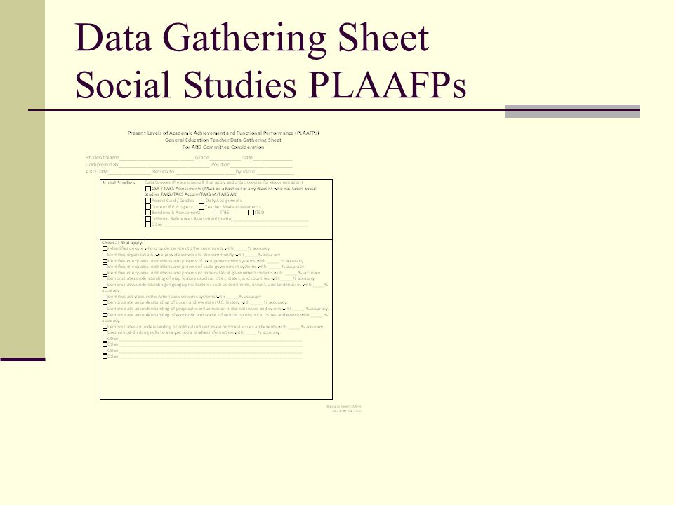 Data Gathering Sheet Social Studies PLAAFPs