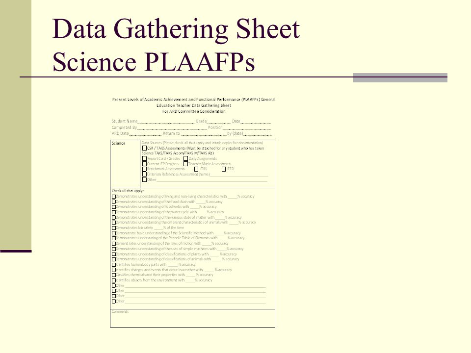 Data Gathering Sheet Science PLAAFPs