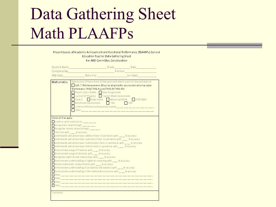 Data Gathering Sheet Math PLAAFPs