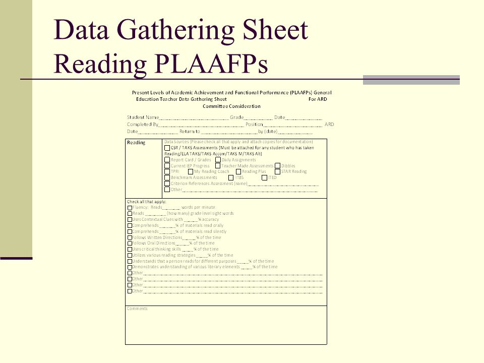 Data Gathering Sheet Reading PLAAFPs