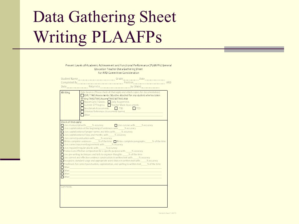 Data Gathering Sheet Writing PLAAFPs