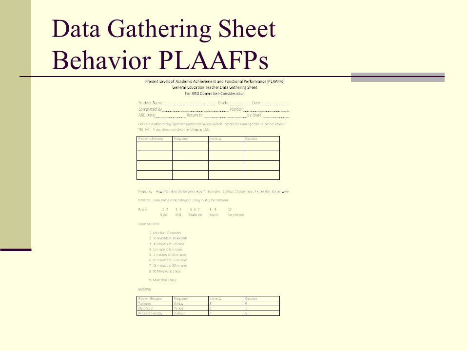 Data Gathering Sheet Behavior PLAAFPs