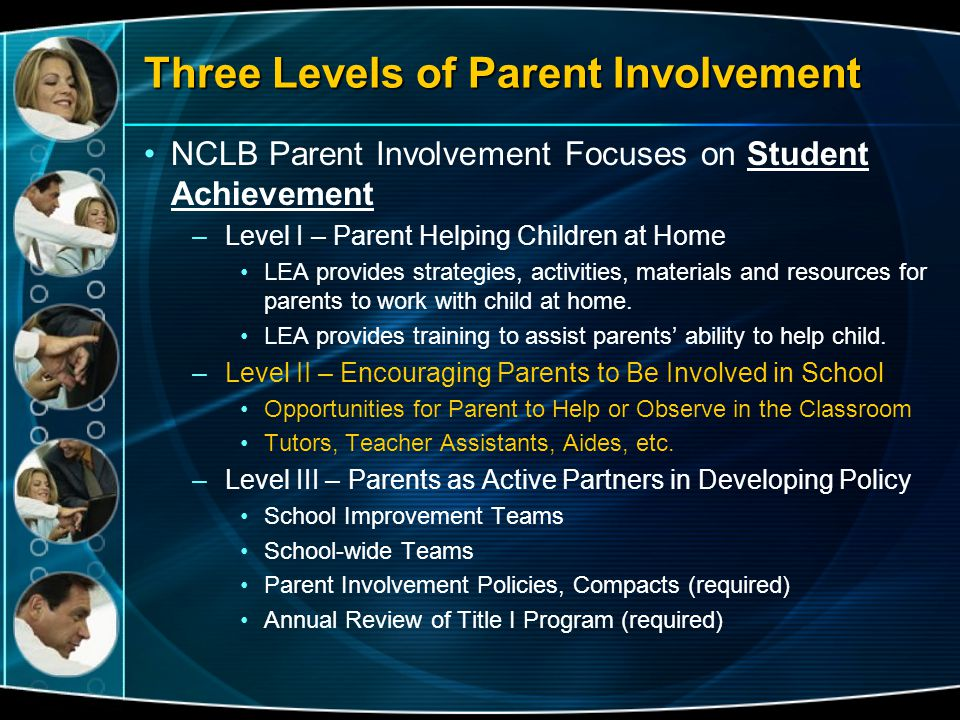 Three Levels of Parent Involvement