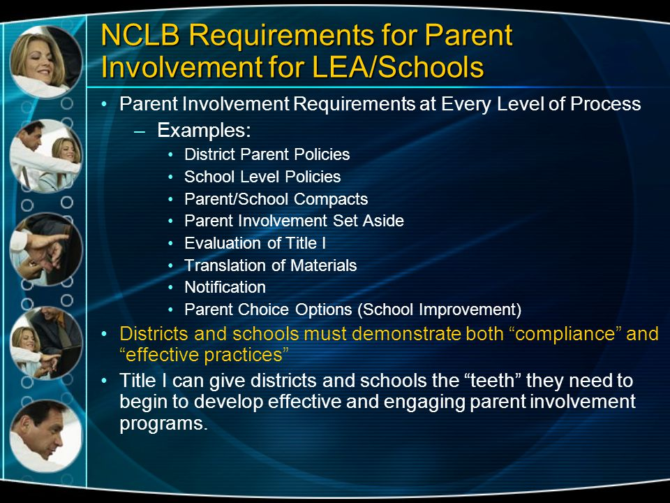 NCLB Requirements for Parent Involvement for LEA/Schools