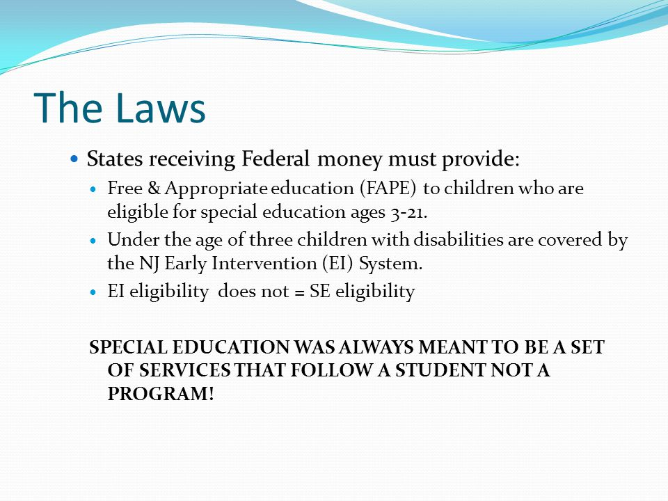 The Laws States receiving Federal money must provide: