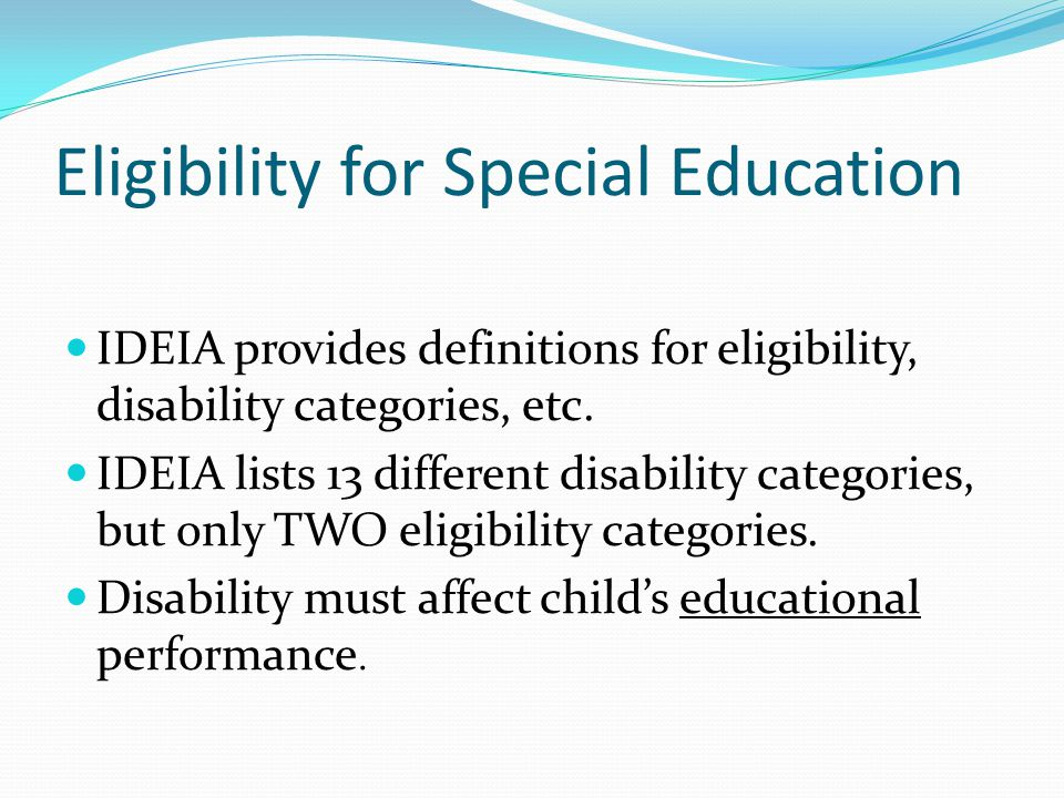 Eligibility for Special Education