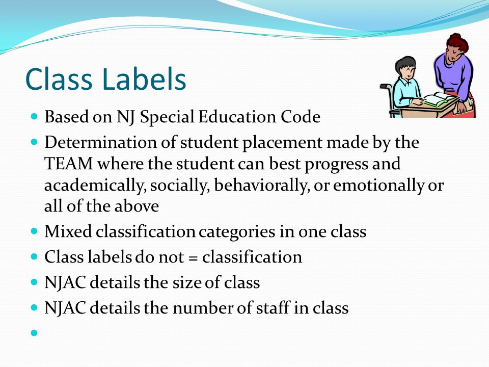 Class Labels Based on NJ Special Education Code