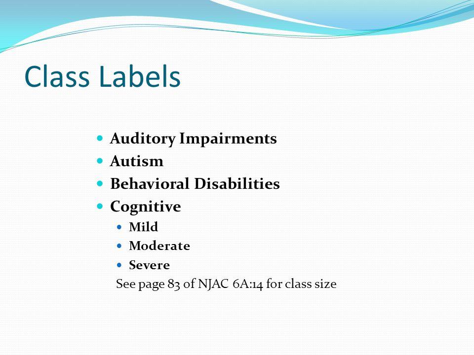 Class Labels Auditory Impairments Autism Behavioral Disabilities