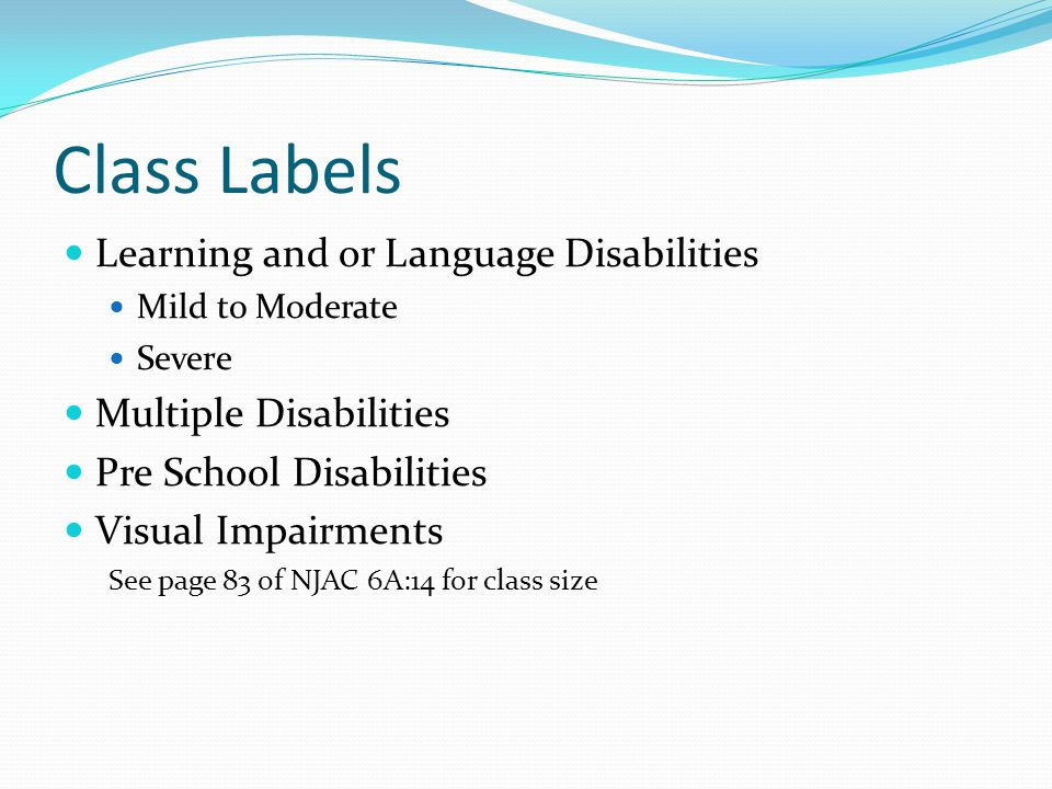 Class Labels Learning and or Language Disabilities