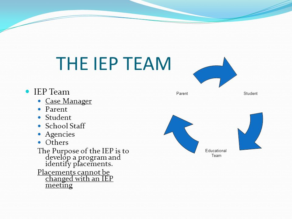 THE IEP TEAM IEP Team Case Manager Parent Student School Staff