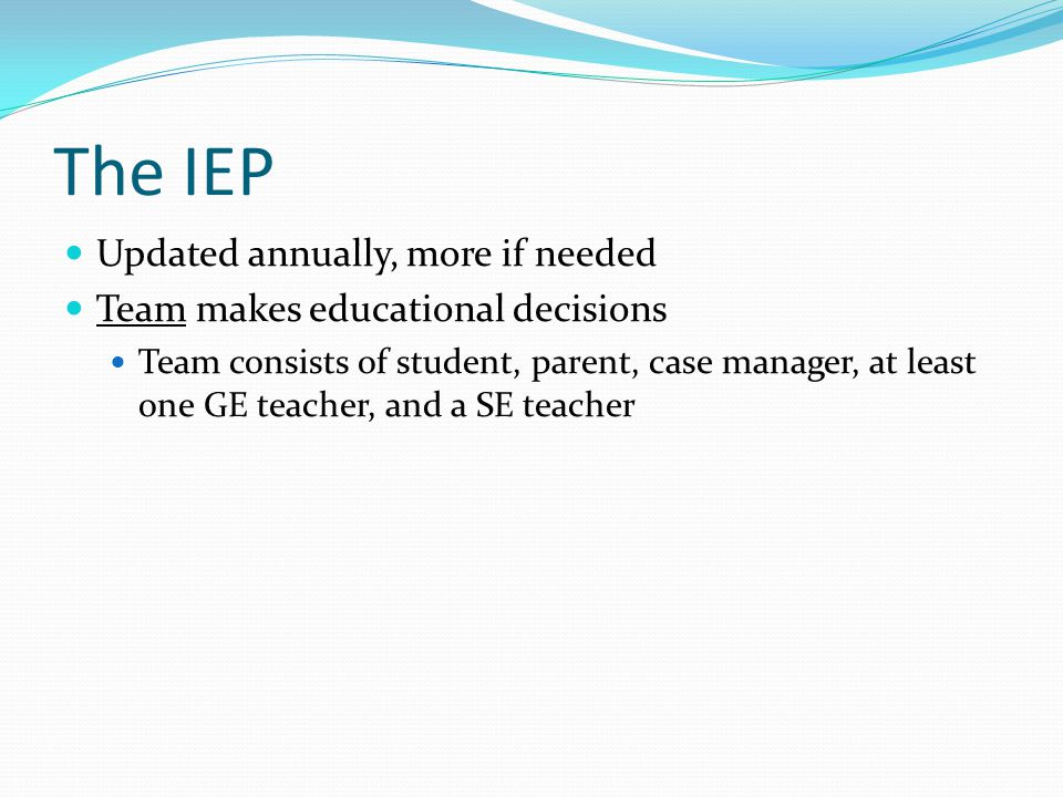 The IEP Updated annually, more if needed