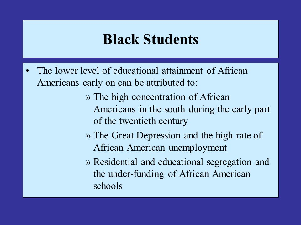 Black Students The lower level of educational attainment of African Americans early on can be attributed to: