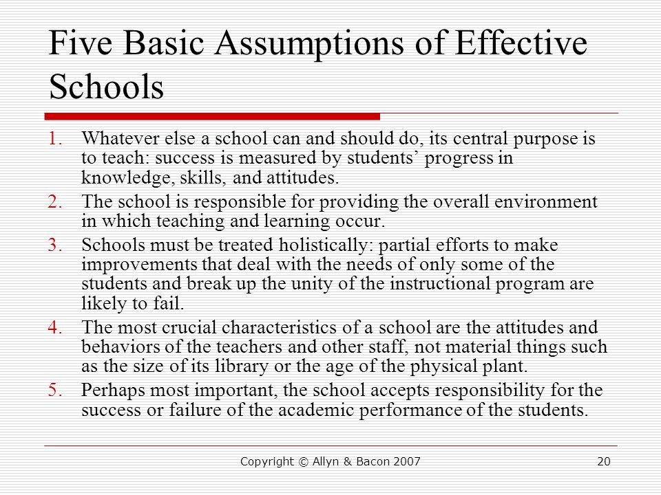 Five Basic Assumptions of Effective Schools