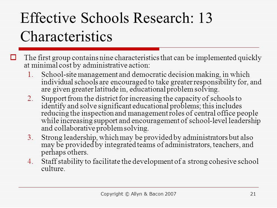 Effective Schools Research: 13 Characteristics