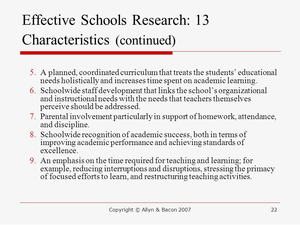 Effective Schools Research: 13 Characteristics (continued)