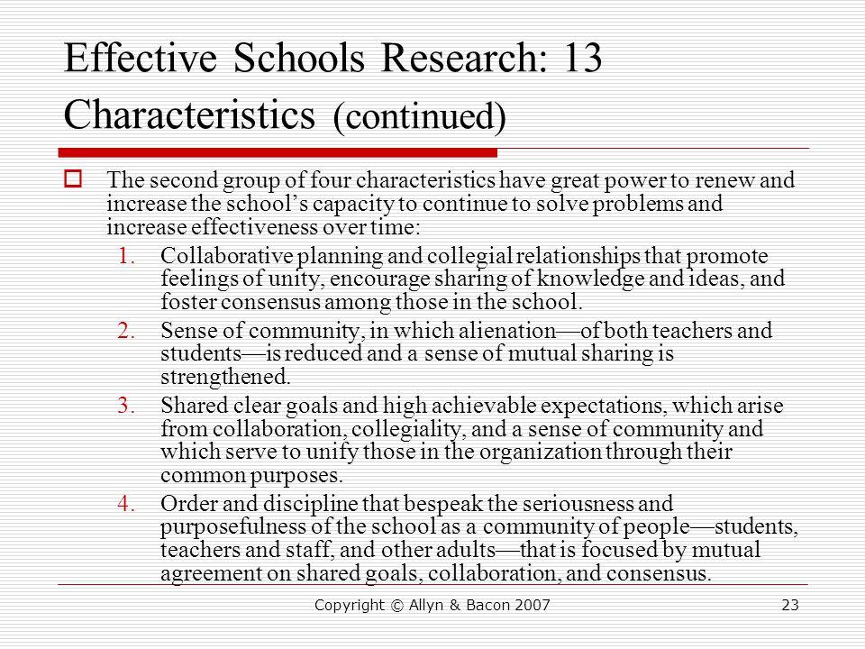 Effective Schools Research: 13 Characteristics (continued)