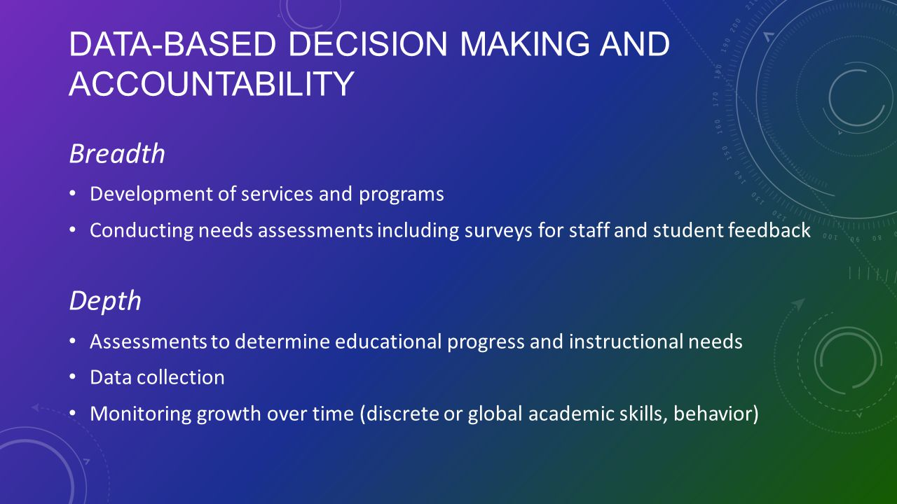 Data-Based Decision Making and Accountability