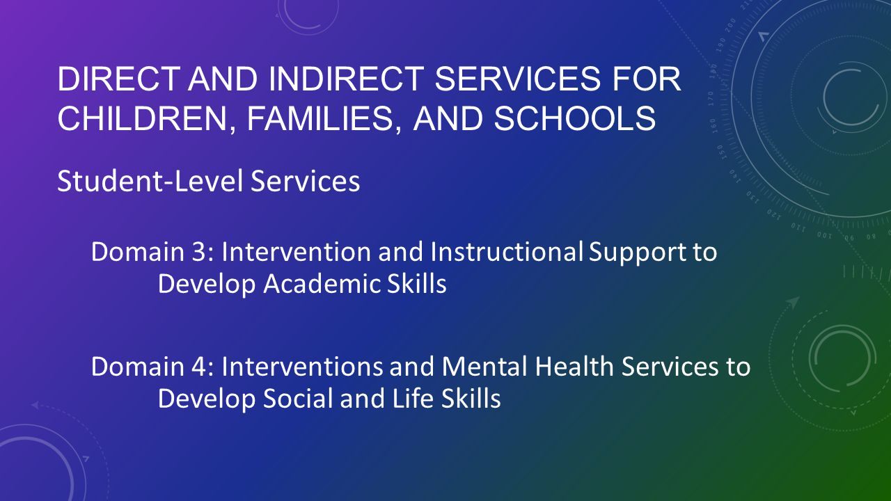 Direct and Indirect Services for Children, Families, and Schools