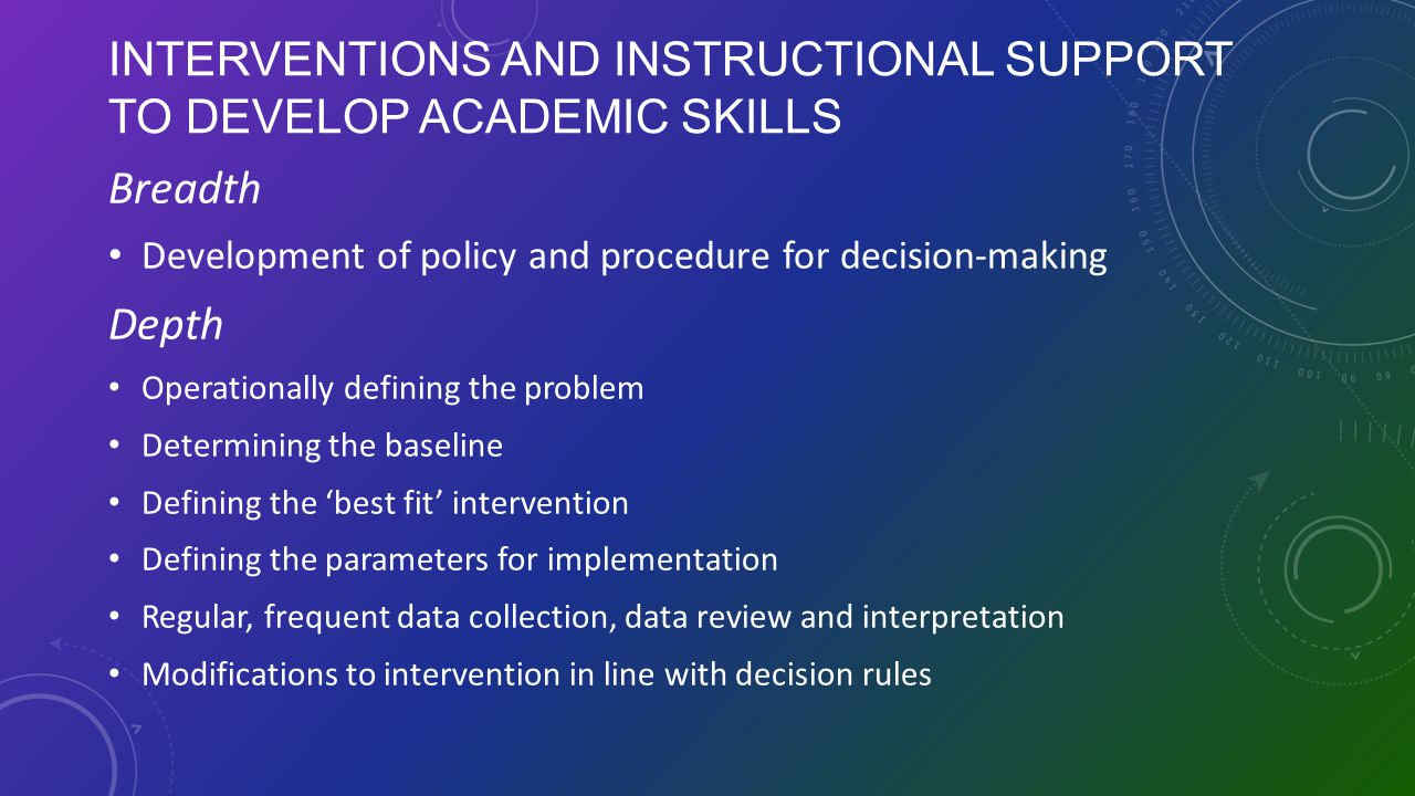 Interventions and Instructional Support to Develop Academic Skills