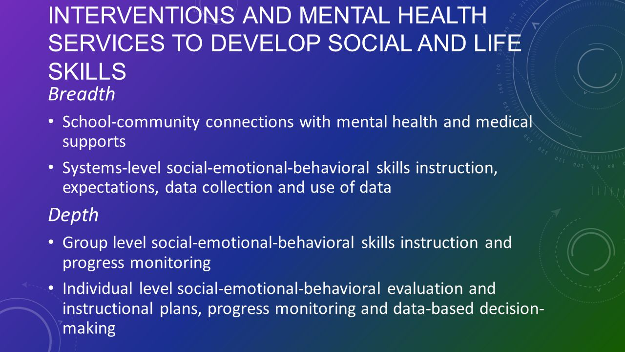 Interventions and Mental Health Services to Develop Social and Life Skills