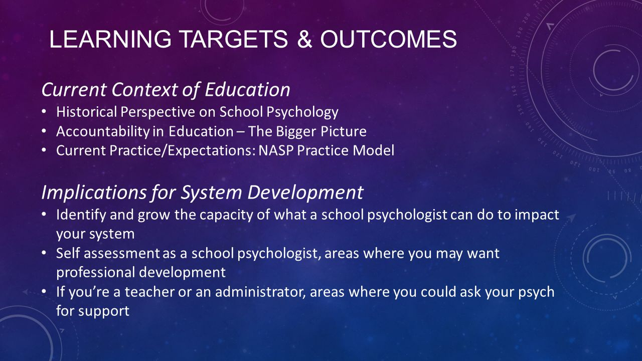 Learning Targets & Outcomes