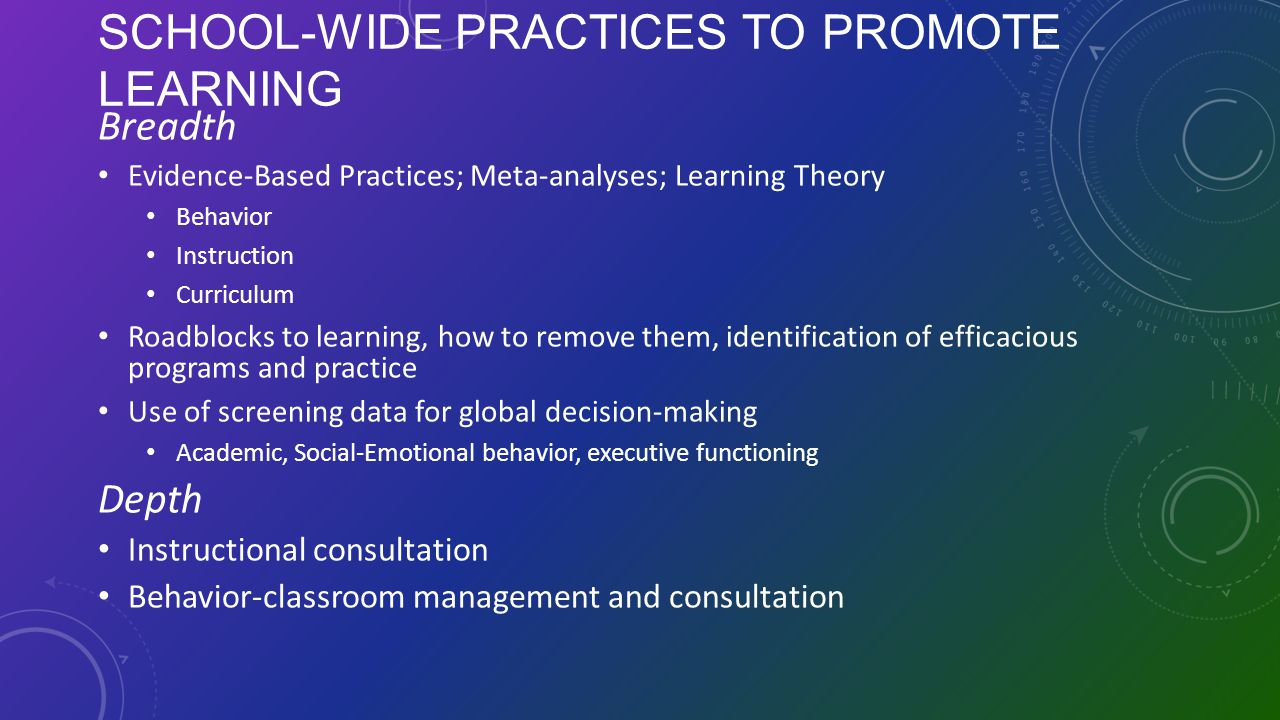 School-wide Practices to Promote Learning