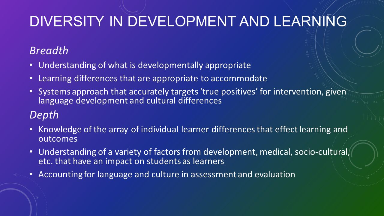 Diversity in Development and Learning