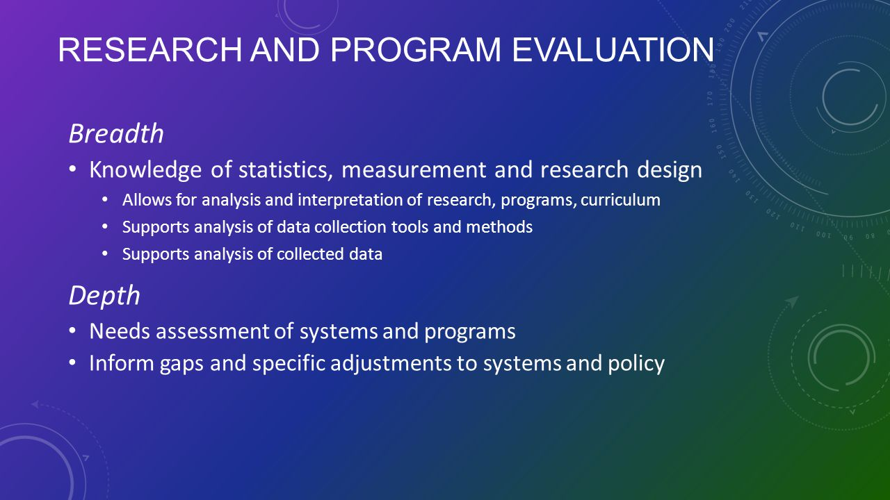 Research and Program Evaluation