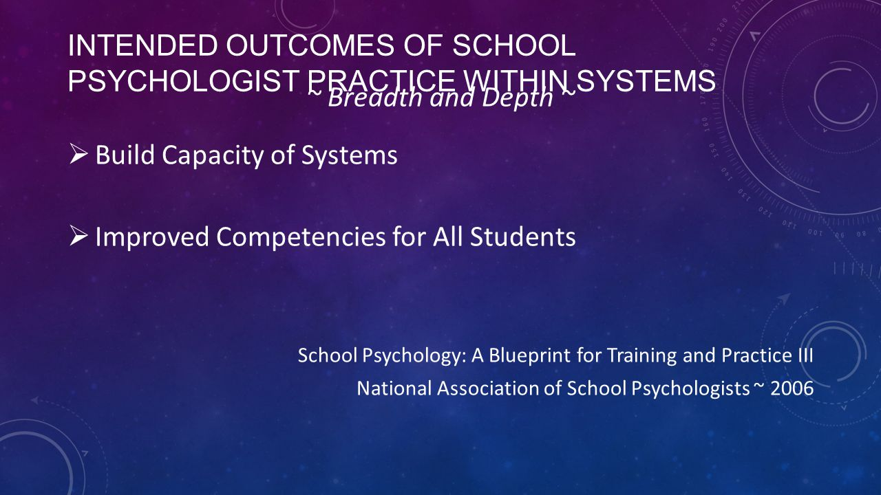 Intended Outcomes of School Psychologist practice within systems