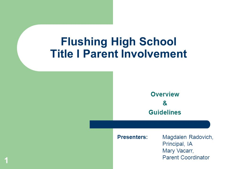 Flushing High School Title I Parent Involvement