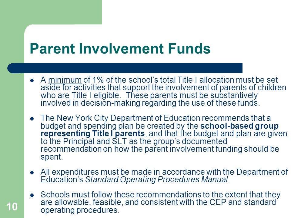 Parent Involvement Funds