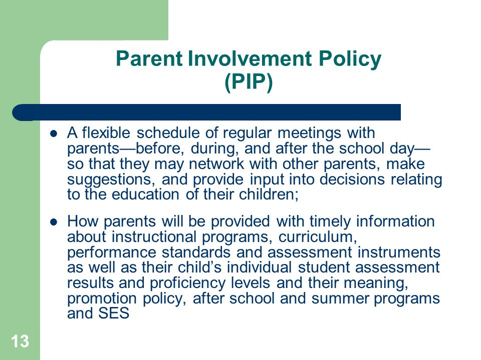 Parent Involvement Policy (PIP)