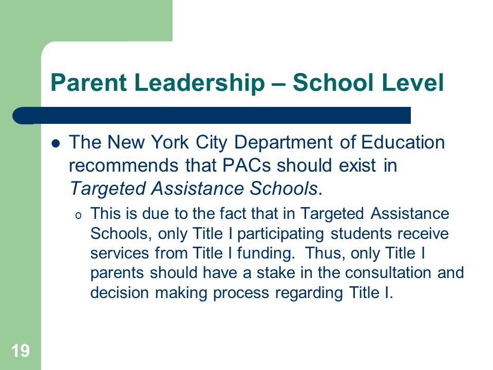 Parent Leadership – School Level