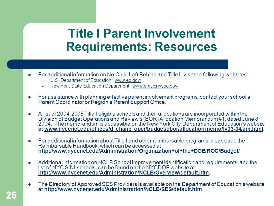 Title I Parent Involvement Requirements: Resources