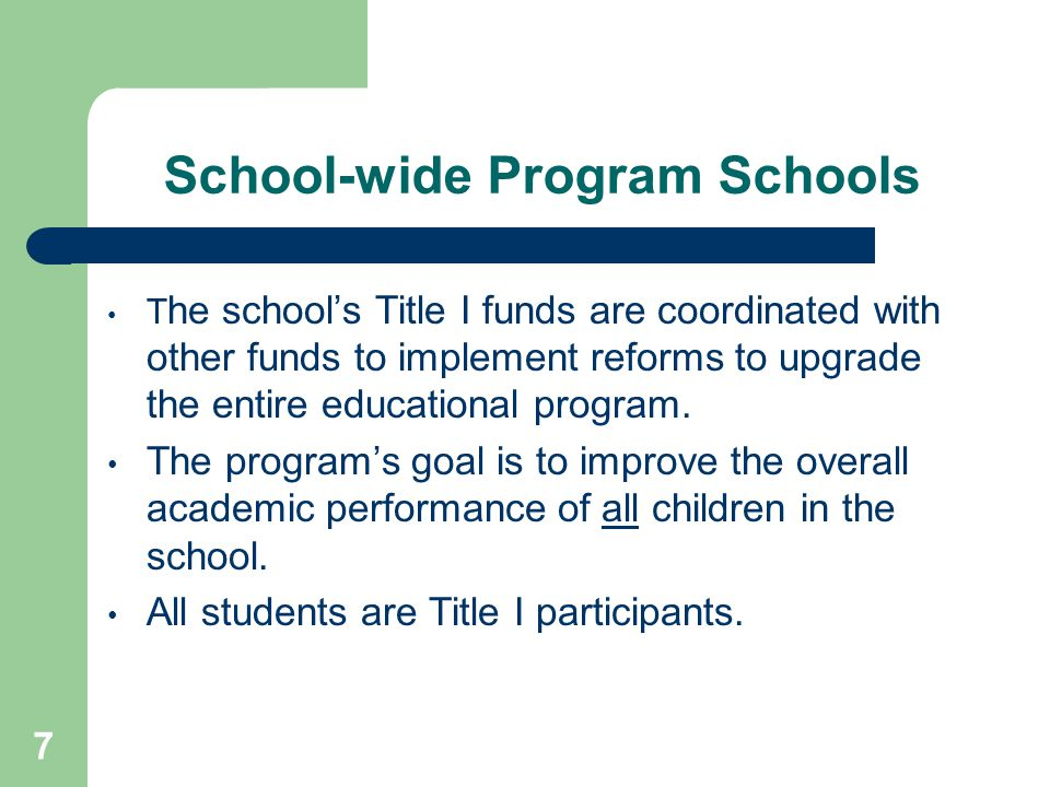 School-wide Program Schools