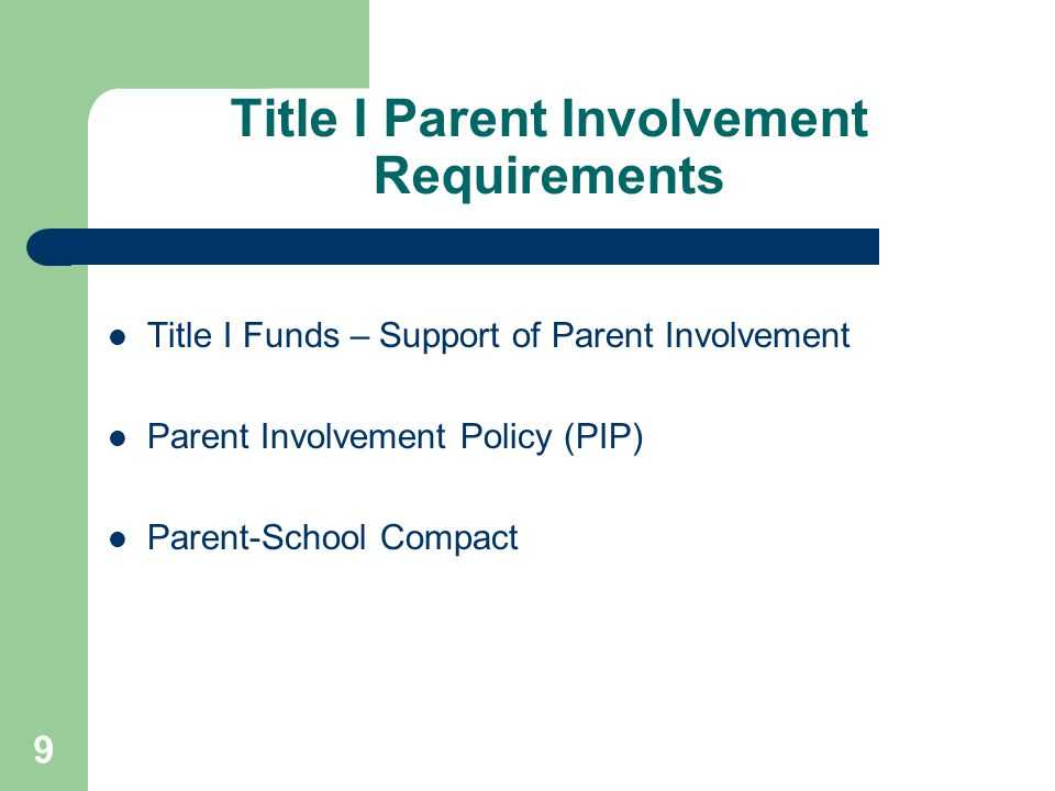 Title I Parent Involvement Requirements
