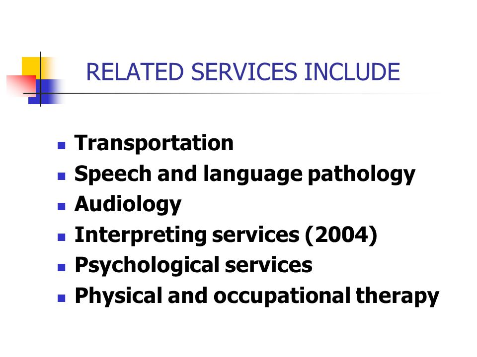 RELATED SERVICES INCLUDE