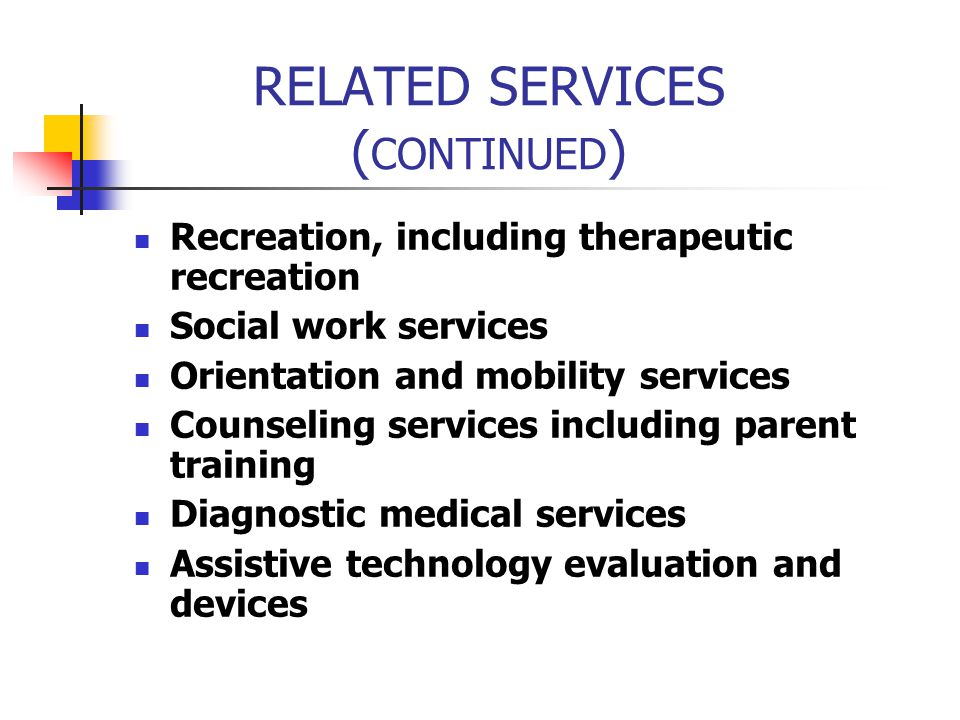 RELATED SERVICES (CONTINUED)