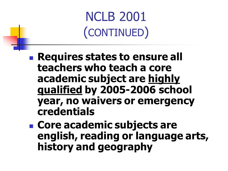 NCLB 2001 (CONTINUED)