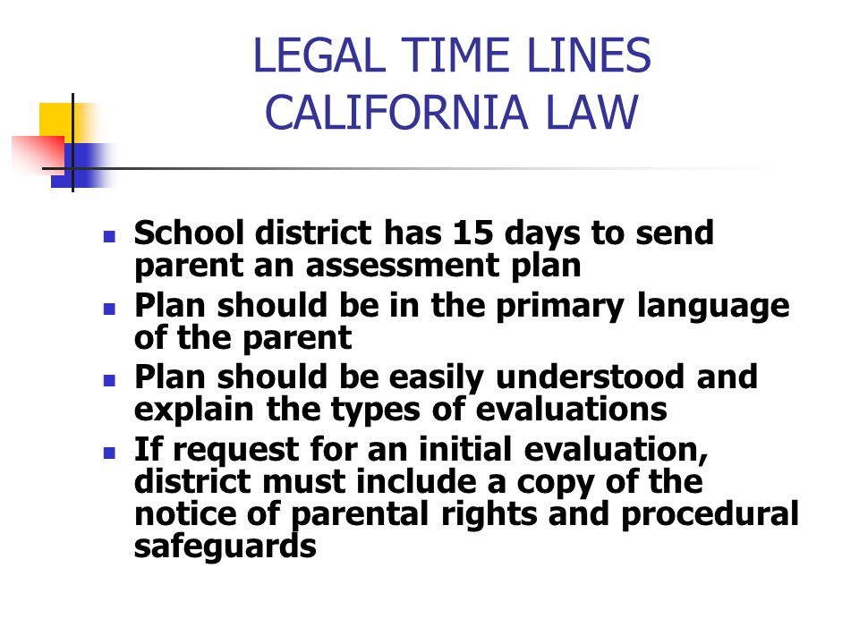 LEGAL TIME LINES CALIFORNIA LAW