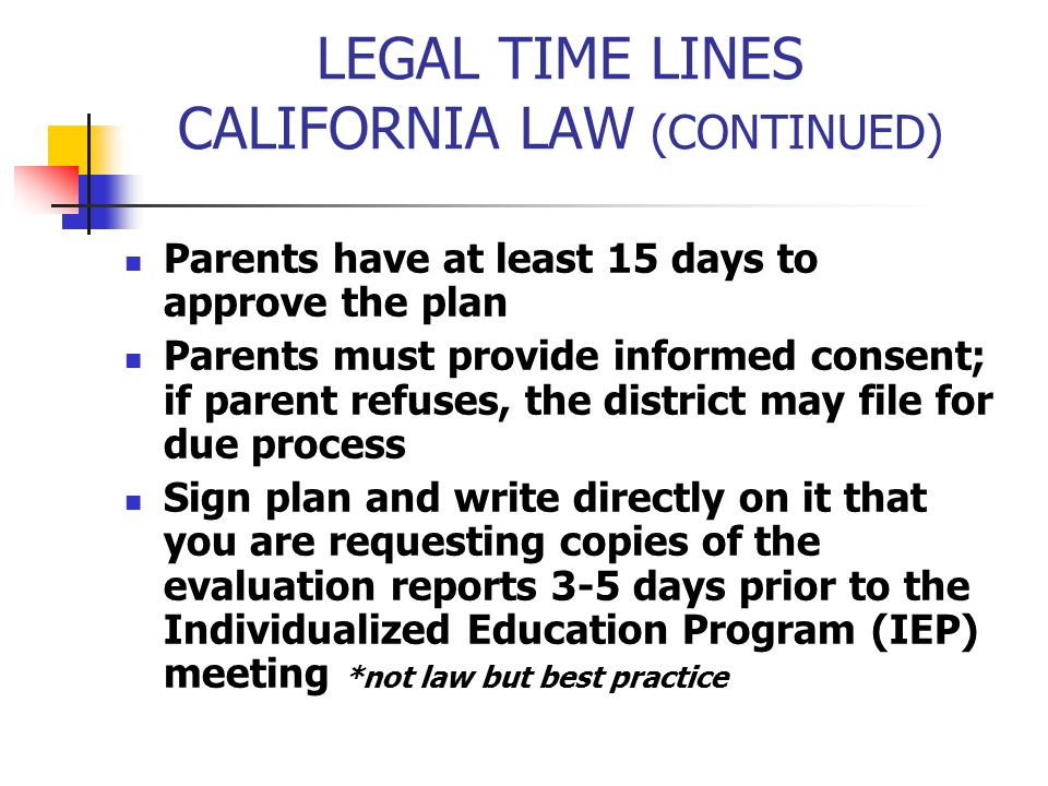LEGAL TIME LINES CALIFORNIA LAW (CONTINUED)