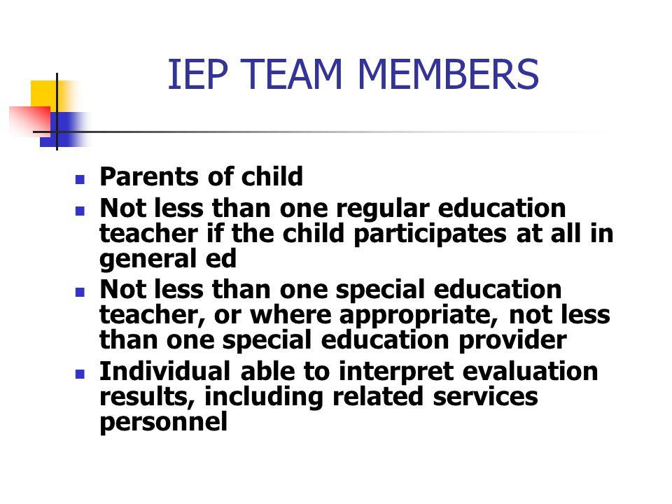 IEP TEAM MEMBERS Parents of child