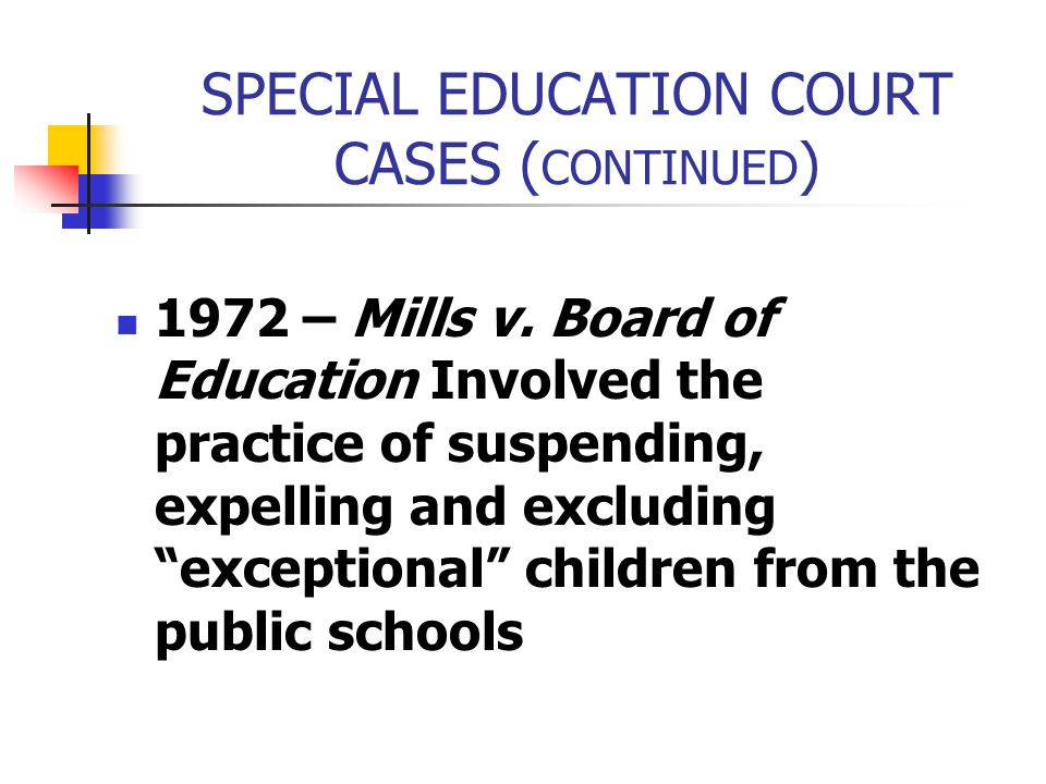 SPECIAL EDUCATION COURT CASES (CONTINUED)