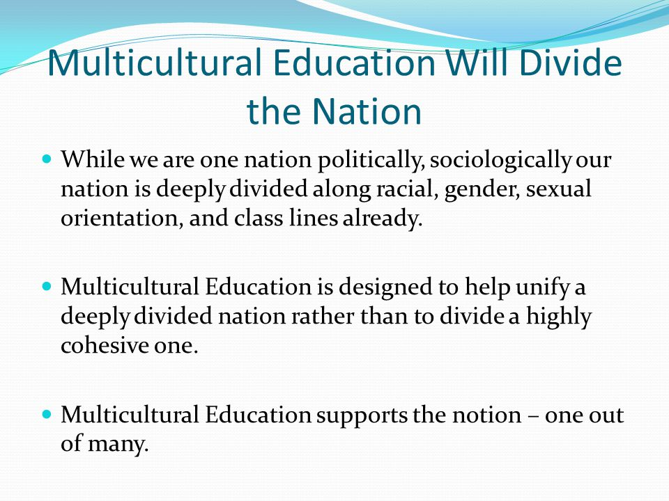 Multicultural Education Will Divide the Nation
