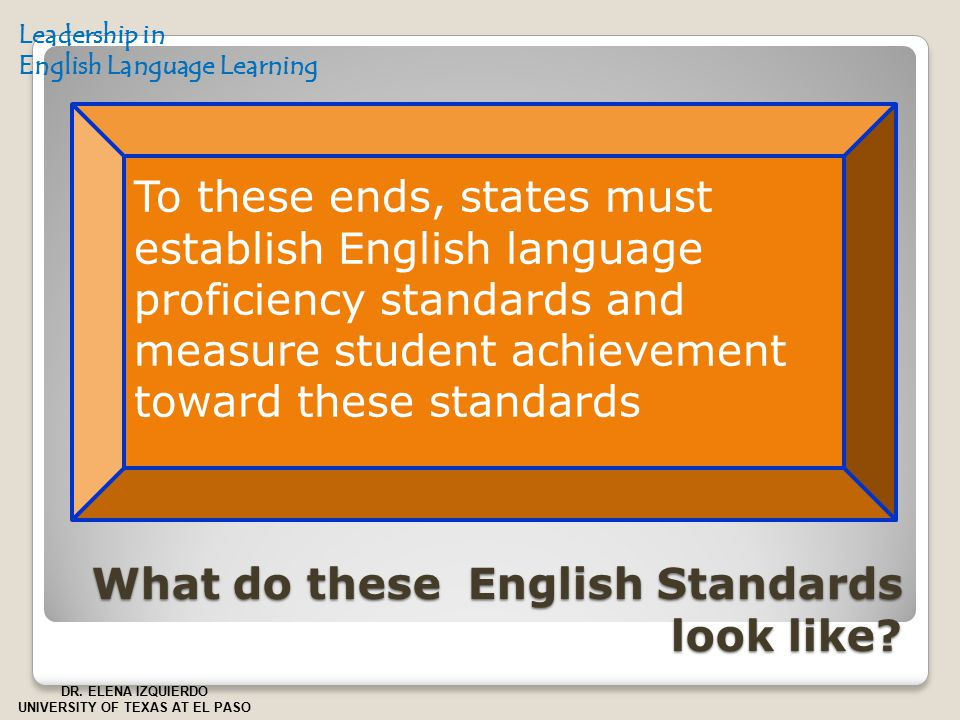 What do these English Standards look like