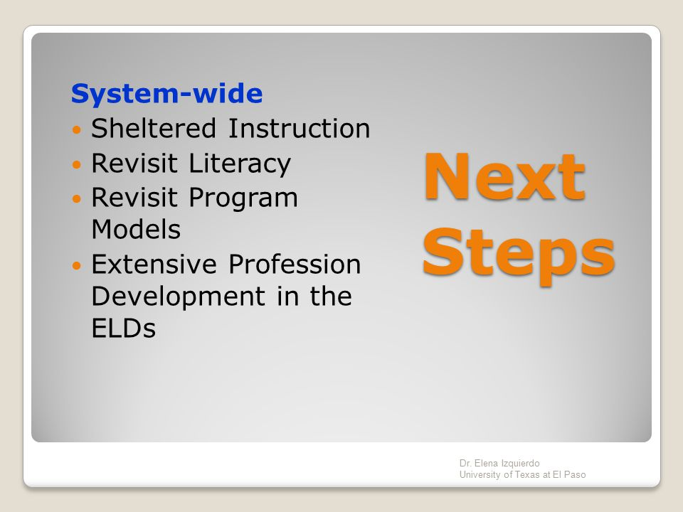 Next Steps System-wide Sheltered Instruction Revisit Literacy
