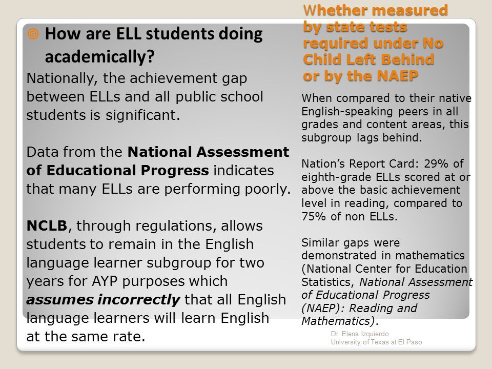 How are ELL students doing academically
